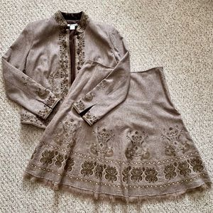 Wool Blend Embroidered Suit Blazer 10/Skirt 12